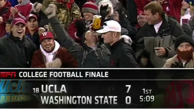 Washington State Fan Chugging Fireball Whisky At Saturday's Game