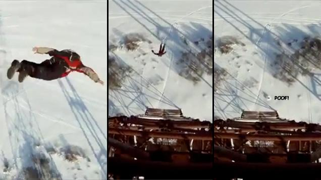 Watch This Guy Surviving A 120 Metre Fall Like Wile E. Coyote