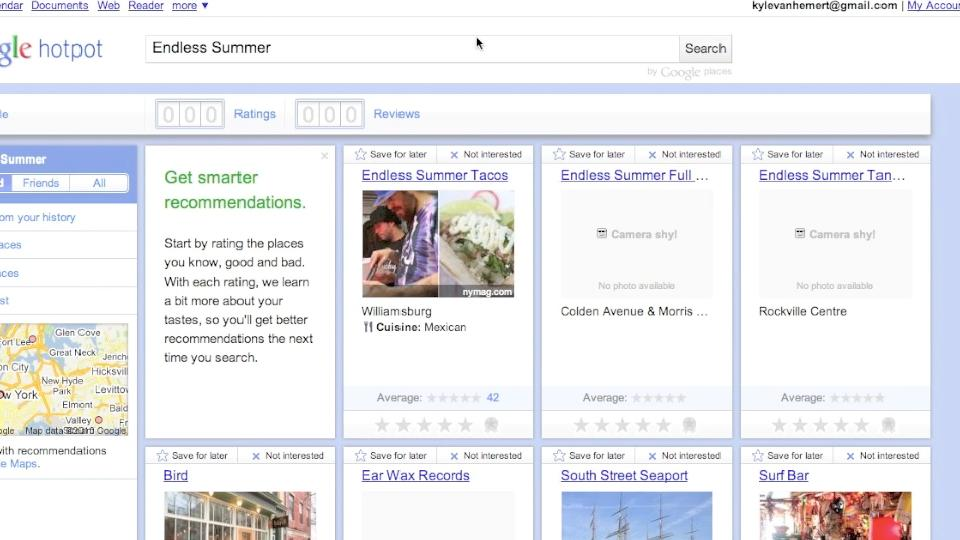 Video: Tour Hotpot, Google's New Recommendation Engine